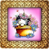 Magnet bead embroidery kit «M-0024 Kitty in the Flower Pot»
