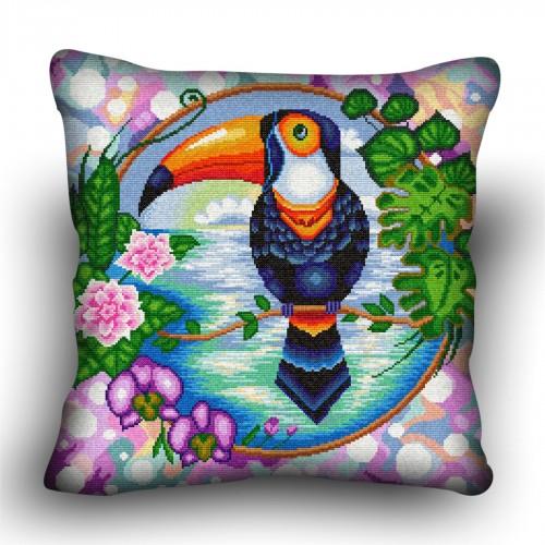 Pillow cross stitch kit «H-0031 Tantalizing Toucan»
