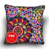 Pillow Cross stitch pattern «pdf-H-0017 Flourishing Flower»
