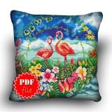 Pillow Cross stitch pattern «pdf-H-0037 Flashy Flamingos»