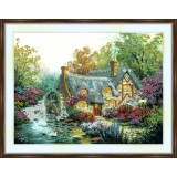 Bead embroidery kit «A-0036 The Millwheel Cottage»