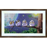Bead embroidery kit «A-0107 Starlight Covered Owls»