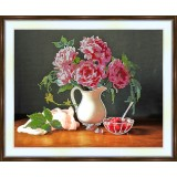 Bead embroidery kit «A-0177 Pink Peonies»