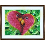 Bead embroidery kit «A-0207 Pink-Faced Parrots»