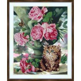 Bead embroidery kit «A-0278 Kitten in the Roses»