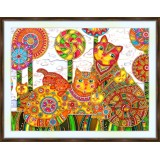 Bead embroidery kit «A-0298 Stylized Cats n Kittens»