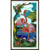 Bead embroidery kit «A-0338 Pink flamingos»