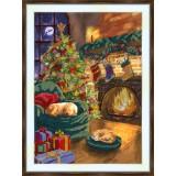 Bead embroidery kit «A-0348 The Christmas Eve Hearth»