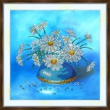 Bead embroidery kit «A-0368 Daisies on Blue»
