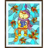Bead embroidery kit «K-0207 Stained Glass Kitty in Autumn»
