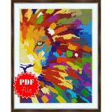 Cross stitch pattern «pdf-S-0017 Rainbow Lion»