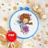 Cross stitch pattern «pdf-T-0047 Fairy with Lilacs»