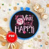 Cross stitch pattern «pdf-T-0077 You Make My Heart Happy»