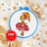 Cross stitch pattern «pdf-T-0107 Miss Red Bow»