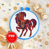Cross stitch pattern «pdf-T-0169 Mandala Horse»