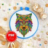 Cross stitch pattern «pdf-T-0179 Mandala Wolf»