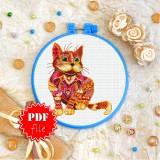 Cross stitch pattern «pdf-T-0200 Mandala Red Cat»