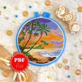 Cross stitch pattern «pdf-T-0266 Palm Trees Landscape»