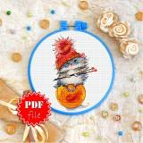 Cross stitch pattern «pdf-T-0277 Kitty Red Hat»