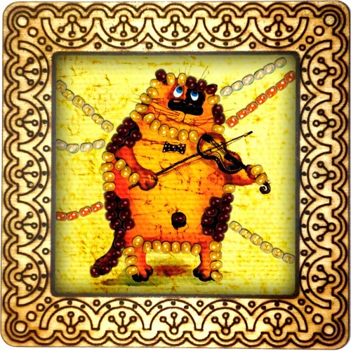 Magnet bead embroidery kit «M-0025 Cat Playing the Violin»