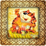 Magnet bead embroidery kit «M-0035 Fat Cat»