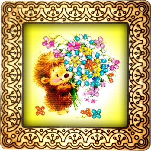 Magnet bead embroidery kit «M-0045 Hedgehog with Bouquet»