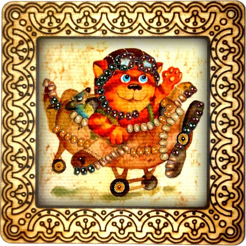 Magnet bead embroidery kit «M-0055 Kitty Pilot»