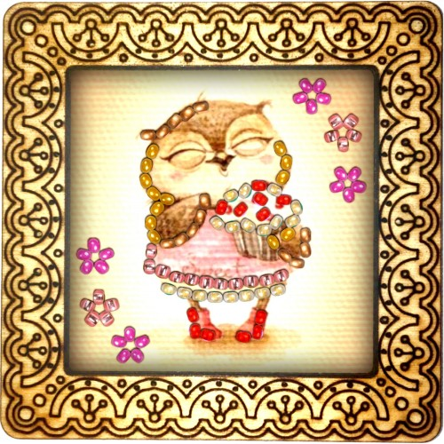 Magnet bead embroidery kit «M-0065 Owlet in the Red Shoes»