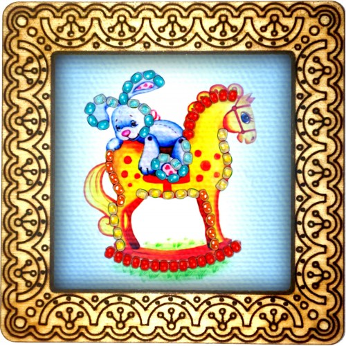 Magnet bead embroidery kit «M-0115 Rocking Horse and Rider»