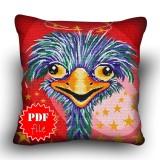 Pillow Cross stitch pattern «pdf-H-0008 Oddish Ostrich»