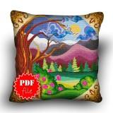 Pillow Cross stitch pattern «pdf-H-0018 Moonlit Forest»