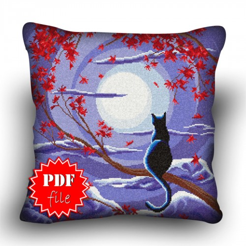 Pillow Cross stitch pattern «pdf-H-0038 Blue Moon Kitty»
