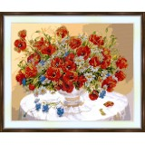 Bead embroidery kit «A-0178 Red Wildflowers»