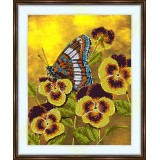 Bead embroidery kit «A-0218 Butterfly visiting the Pansies»