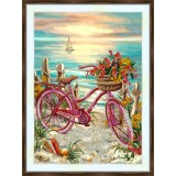 Bead embroidery kit «A-0379 The Pink Bicycle»