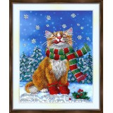 Bead embroidery kit «A-0463 Happy Winter Kitty»