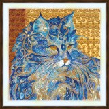 Bead embroidery kit «A-0493 Alert Kitty»