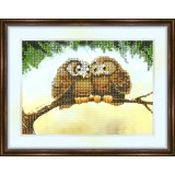 Bead embroidery kit «K-0027 Owls on a Branch»