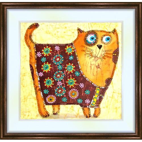 Bead embroidery kit «K-0087 Stylized Kitty Cat»