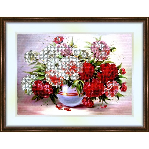 Bead embroidery kit «K-0097 Red and White Peonies»