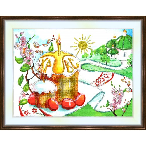 Bead embroidery kit «K-0148 Easter Morning Cupcake»