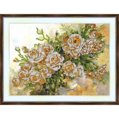 Bead embroidery kit «K-0168 Creamy Roses»