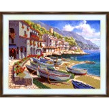 Bead embroidery kit «K-0178 Boats on the Shore»