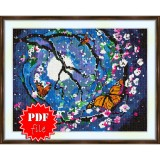 Cross stitch pattern «pdf-S-0008 Sakura in the Night»