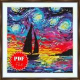 Cross stitch pattern «pdf-S-0039 Sailboat in the Starry Night»