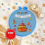 Cross stitch pattern «pdf-T-0038 Happy Birthday 2»