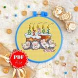 Cross stitch pattern «pdf-T-0048 Hedgehog Party»