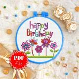 Cross stitch pattern «pdf-T-0068 Happy Birhday 4»