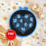 Cross stitch pattern «pdf-T-0078 Blue Flowered Heart»
