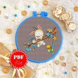 Cross stitch pattern «pdf-T-0108 Bunny &Birdie»
